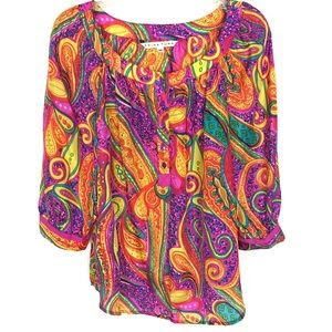 Trina Turk multicolor paisley half button blouse M